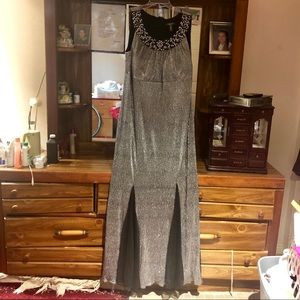 R&M Richards Beaded Metallic Evening Gown